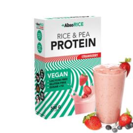 Eper ízesítésű teljes értékű vegán fehérjeforrás.