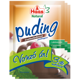 Haas Natural csokoládéízű pudingpor 3x44 g - Natur Reform