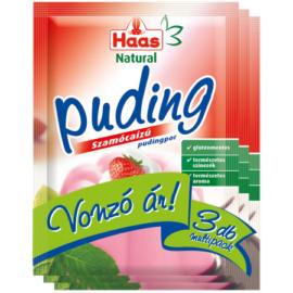 Haas Natural szamócaízű pudingpor kalciummal 3x40 g
