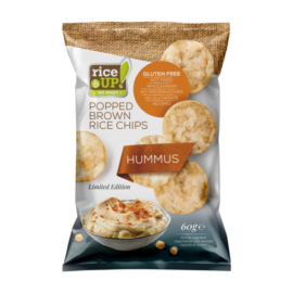 Rice UP! Hummus ízesítésű barna rizs chips 60 g