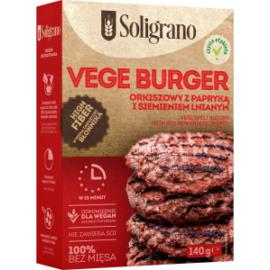 Soligrano Vegán Burger Alappor tönkölyből paprikával és lenmaggal 140 g
