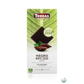 Torras Stevia Vegán étcsokoládé 60%-os kakaótartalommal (gluténmentes) 100 g