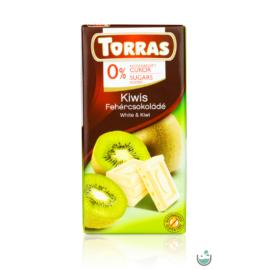 Torras Kiwis fehércsokoládé hozzáadott cukor nélkül (gluténmentes) 75 g
