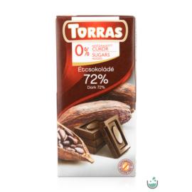 Torras vegán étcsokoládé 72%-os kakaótartalommal hozzáadott cukor nélkül (gluténmentes) 75 g