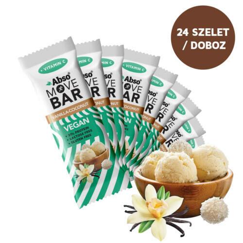 Abso MOVE BAR Kínáló (24dbx35g) - Vaníliás-kókuszgolyó ízű vegán fehérjeszelet
