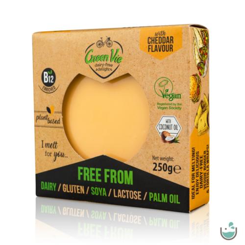 GreenVie Cheddar ízesítésű növényi sajthelyettesítő 250 g – Natur Reform