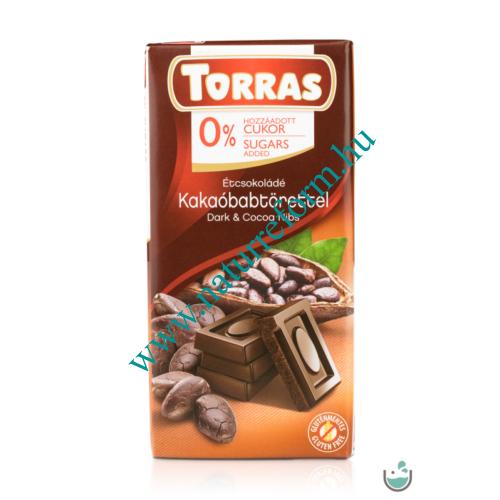 Torras vegán étcsokoládé kakaóbabtörettel hozzáadott cukor nélkül (gluténmentes) 75 g