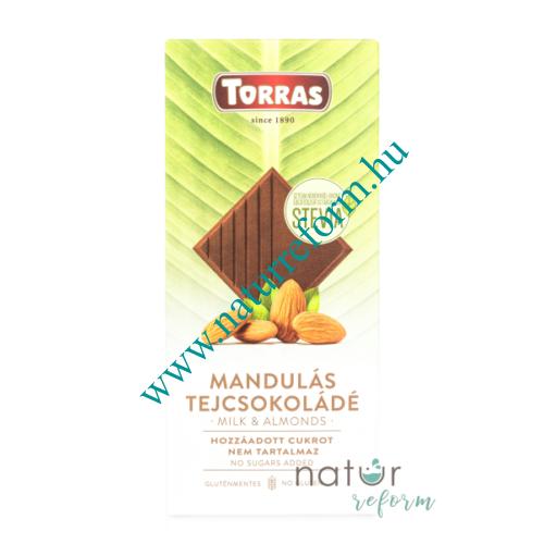 Torras Stevia Mandulás tejcsokoládé hozzáadott cukor nélkül 100 g